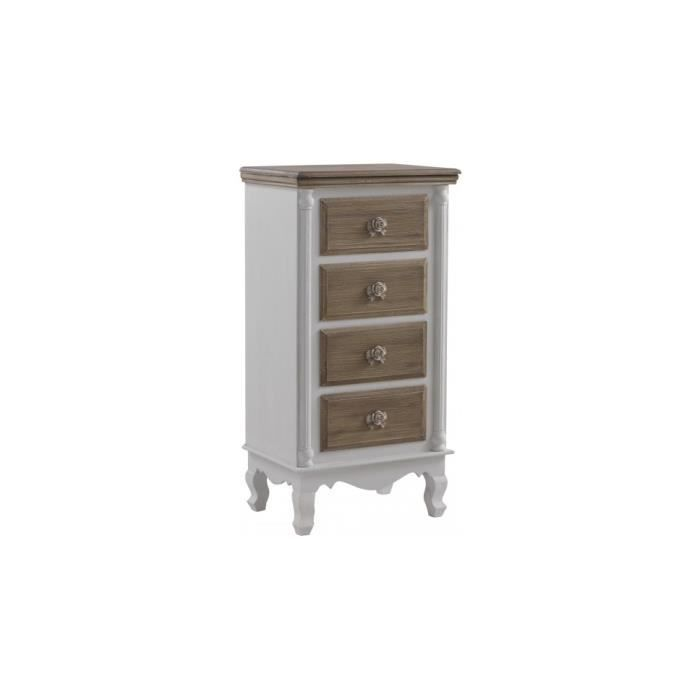 chiffonnier pin massif blanc 4 tiroirs brun blanchi achat vente chiffonnier semainier. Black Bedroom Furniture Sets. Home Design Ideas