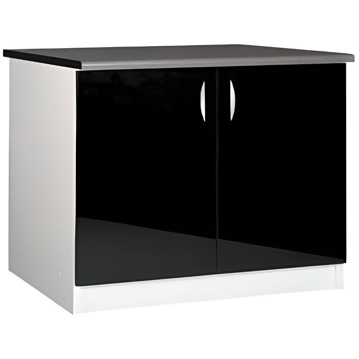 Meuble cuisine bas 120 cm sous vier oxane noir achat for Meuble sous evier 100 cm