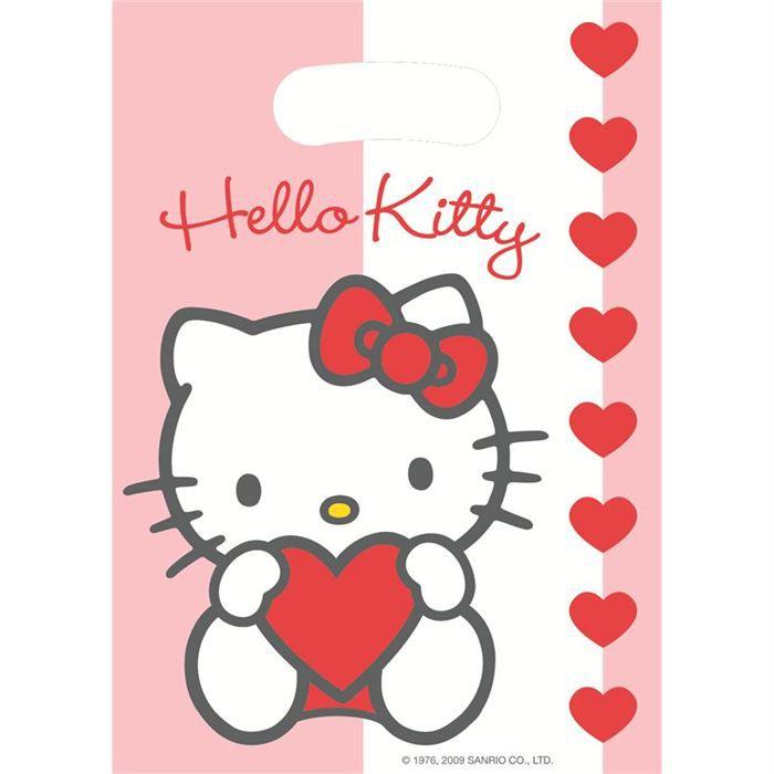kit de decoration pochettes cadeaux hello kitty coeur