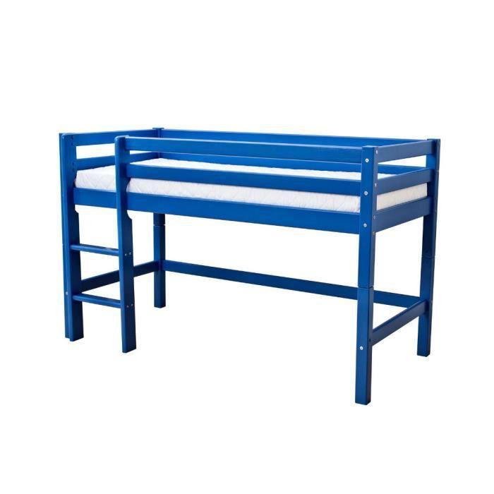 Lit mi hauteur basic 70 160 bleu achat vente structure de lit cdiscount - Lit mi hauteur metal ...