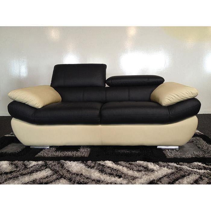 Canap en cuir 3 places noir et beige rosy achat vente canap sofa divan soldes d - Canape cuir beige 3 places ...