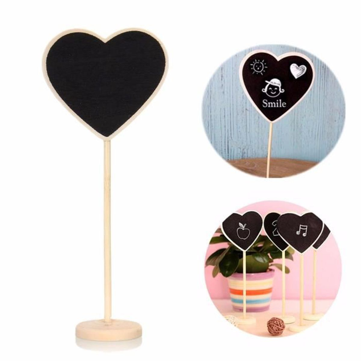 Craie tableau noir bois support pr d coration table f te - Tableau noir bois ...