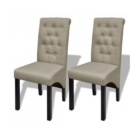 Lot de 2 chaises de salle manger salon beige antique for Chaise de salle a manger beige