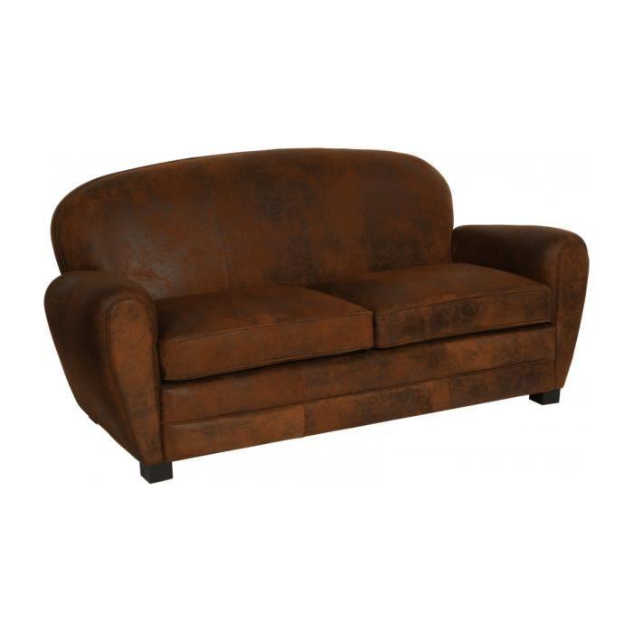 canap club microfibre vieillie chocolat 3 places dossier rond achat vente canap sofa. Black Bedroom Furniture Sets. Home Design Ideas
