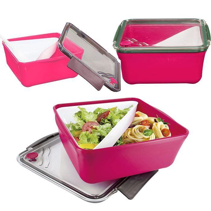 boite repas lunch box compartiment amovible fourchette fushia achat vente lunch box. Black Bedroom Furniture Sets. Home Design Ideas