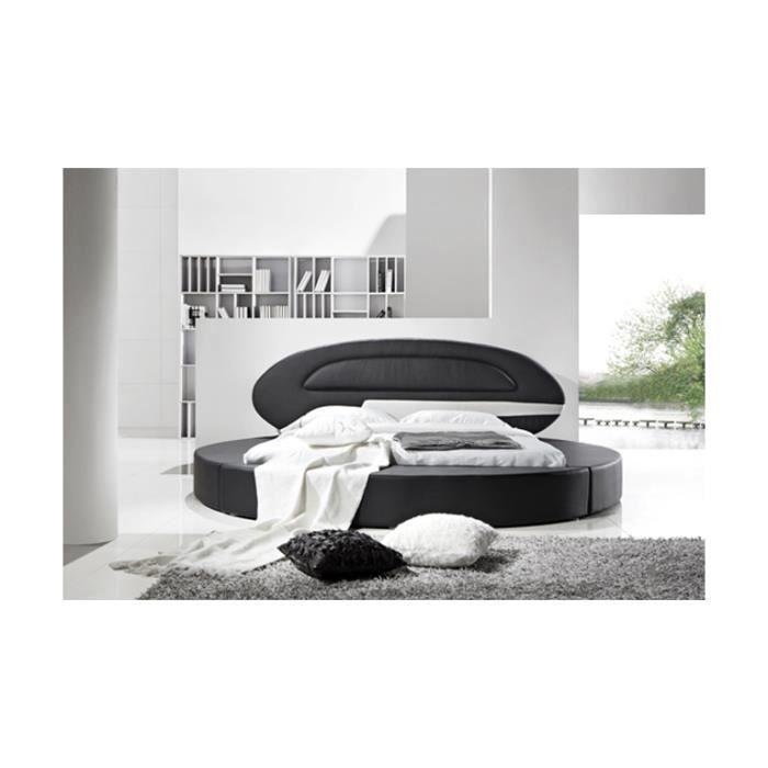lit rond design planet en cuir 180 x 200 cm achat vente lit complet lit rond design planet. Black Bedroom Furniture Sets. Home Design Ideas