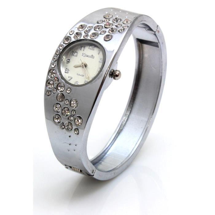 montre bracelet femme quartz strass fantaisie gris m tal achat vente montre cdiscount. Black Bedroom Furniture Sets. Home Design Ideas
