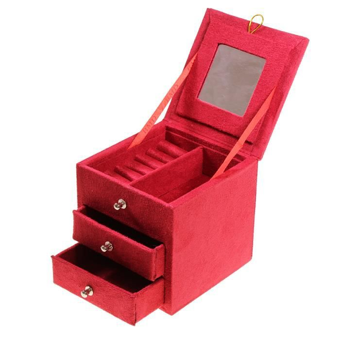 boite bijoux velours rouge avec tiroirs miroir achat vente boite a bijoux velours rouge. Black Bedroom Furniture Sets. Home Design Ideas
