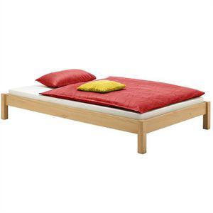 STRUCTURE DE LIT Lit futon double 140 x 200 cm lasuré couleur hêtre