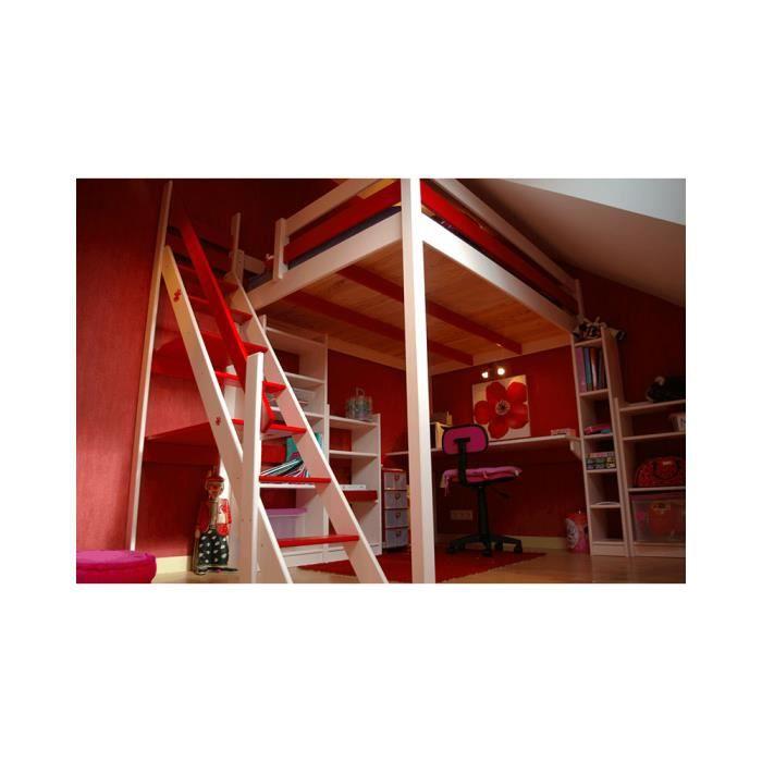 Mezzanine manon 140 200 avec escalier de meunier achat vente lit mezzanin - Lit mezzanine 140 x 200 ...