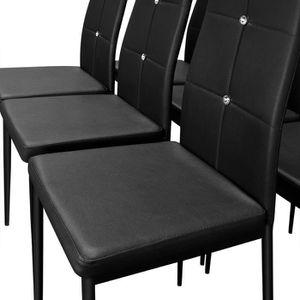 6x chaises de salle manger avec strass noires achat vente chaise noir - Chaise haut dossier salle a manger ...
