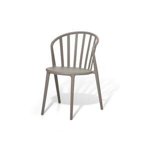 Chaise de jardin si ge en plastique gris clair denver for Fauteuil jardin plastique gris