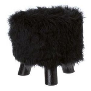 Tabouret fourrure noir achat vente chaise fauteuil jardin tabouret four - Tabouret en fourrure ...