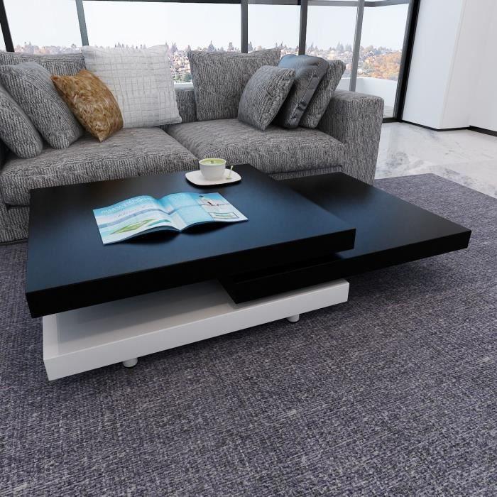Table basse 3 plateaux pivotant table salon pivotant noir for Table basse 3 plateaux pivotants
