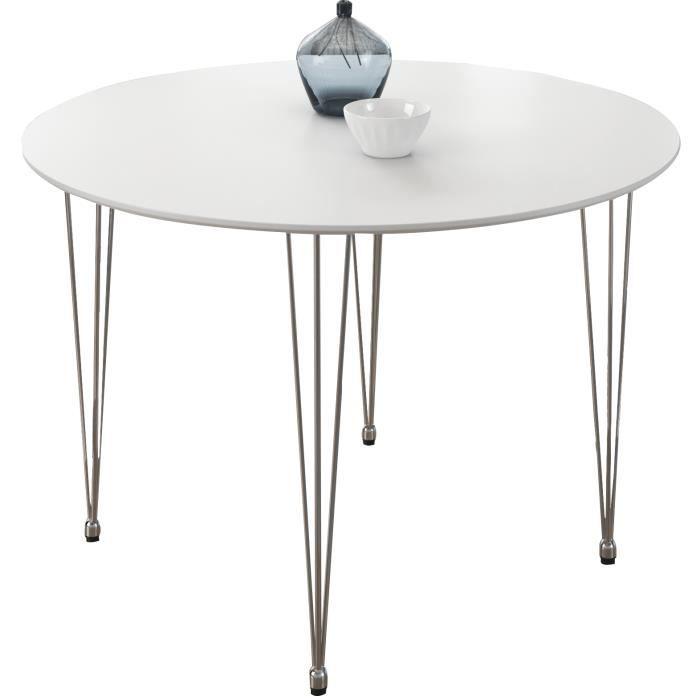 Table design ronde 80 cm coloris blanc mat achat vente for Table a manger ronde design