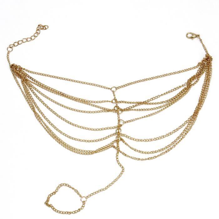 Vogue plage multi gland anneau bracelet cha ne lien pied bijoux dor de cheville achat vente - Anneau de gland ...