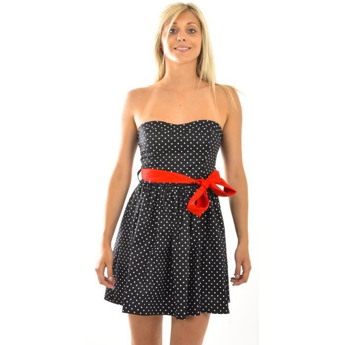 la mode des robes de france robe bustier noir a pois blanc. Black Bedroom Furniture Sets. Home Design Ideas