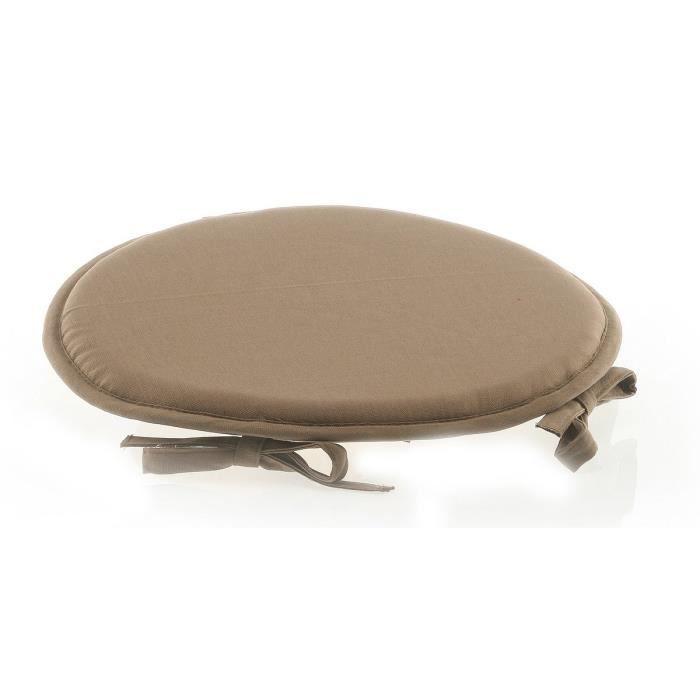 Galette de chaise ronde 100 coton taupe achat vente - Galette de chaise avec rabat ...