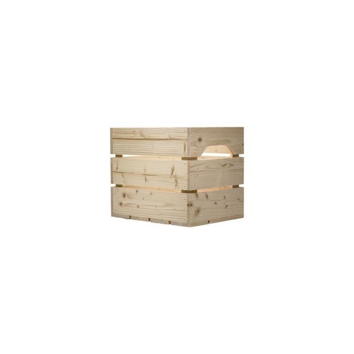 Caisse en bois 1 2 large l27 x h30 x p36 cm fabriqu e main en france achat vente table - Table basse caisse en bois ...