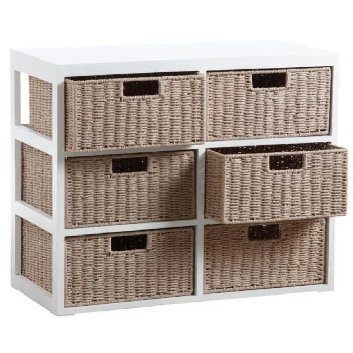 Commode 6 tiroirs en bois et papier cord achat vente for Meuble bas avec panier osier