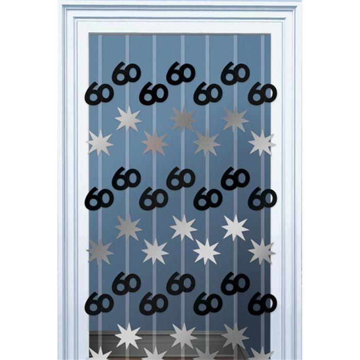 rideau de porte anniversaire 60 ans noir et argent achat vente d co de f te murale plastique. Black Bedroom Furniture Sets. Home Design Ideas