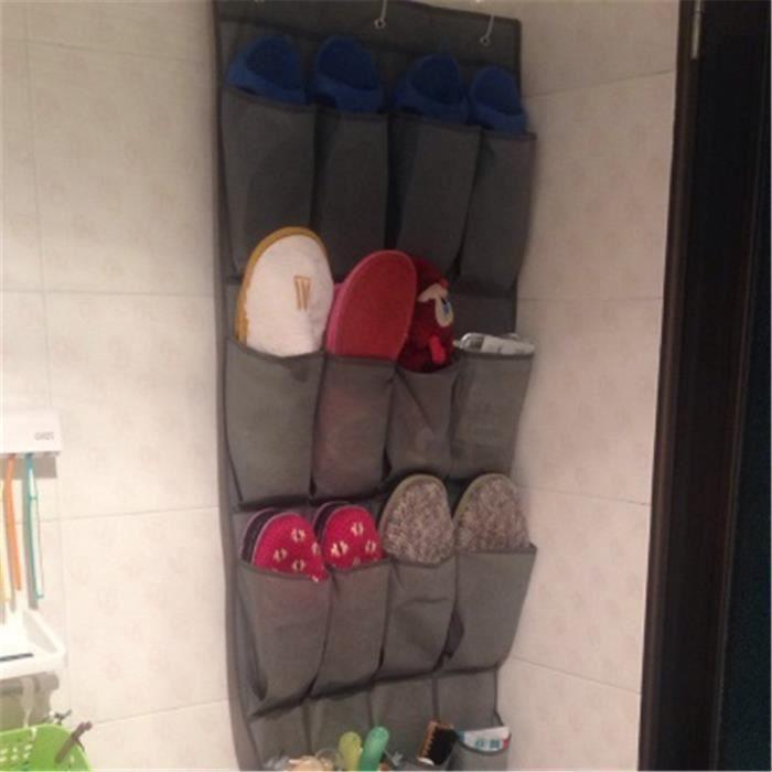 organisateur de chaussures stockage de chaussure pr s de la porte 24 poches achat vente. Black Bedroom Furniture Sets. Home Design Ideas
