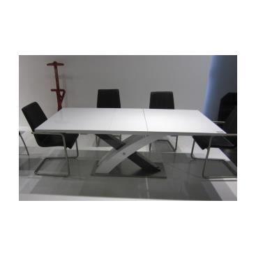 Table de salle manger xeron laqu e noire et blanche for Achat table de salle a manger