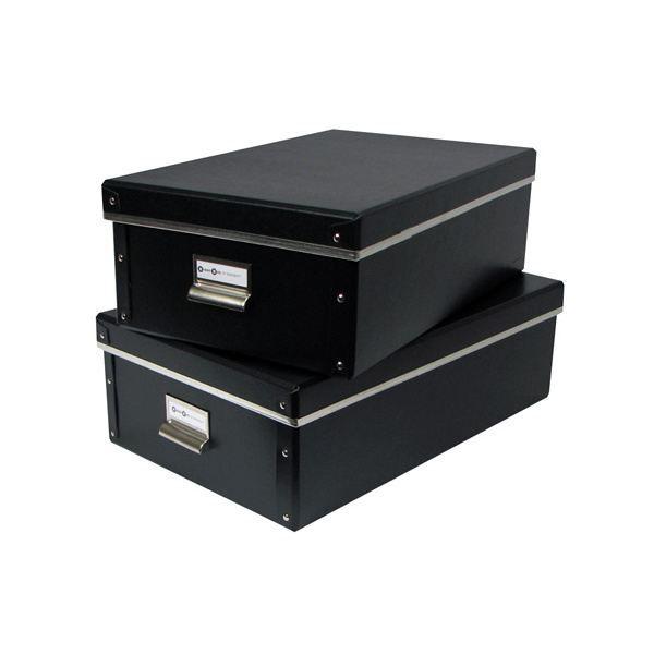 boite carton x2 noir achat vente boite de rangement cdiscount. Black Bedroom Furniture Sets. Home Design Ideas