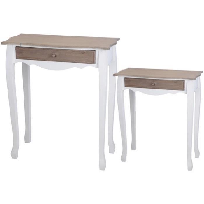 Ensemble de 2 tables en bois avec tiroir 77x34x88 cm - Table basse en bois avec tiroir ...