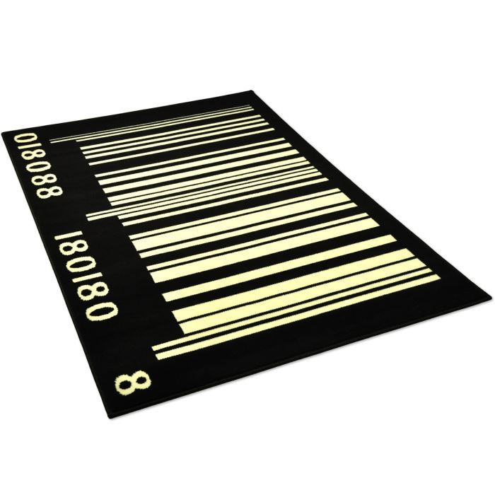 Tapis salon code barre noir et blanc universol achat vente tapis cdis - Tapis salon noir et blanc ...