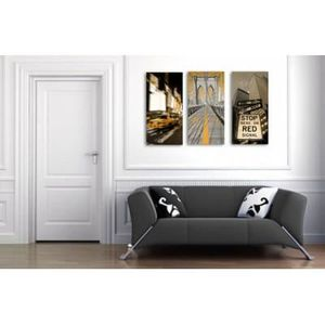 Tableau new york taxi jaune achat vente tableau new for Tableau triptyque new york