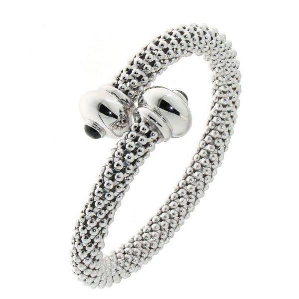 jonc argent rhodie croise et onyx pour femme achat vente bracelet gourmette jonc argent. Black Bedroom Furniture Sets. Home Design Ideas
