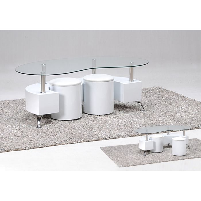 Omega table basse 2 poufs blanc achat vente table basse omega table - Table basse avec 2 poufs ...
