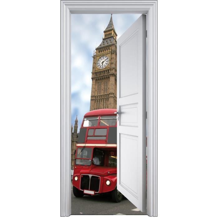 Sticker porte trompe l oeil d co bus anglais 90x200cm for Decoration porte trompe l oeil