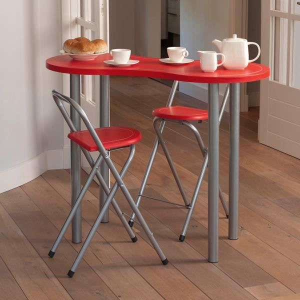 Ensemble table coin repas 2 tabourets rouge achat vente table de cu - Table de cuisine modulable ...