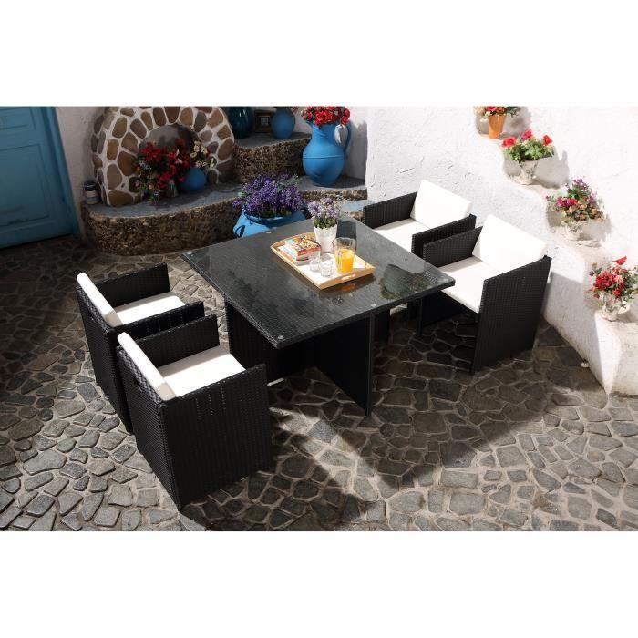 Salon jardin noir encastrable r sine 4 personnes achat for Salon de jardin 2 personnes