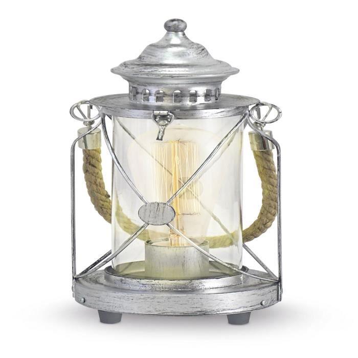 bradford lampe poser style lanterne de marin gris gris. Black Bedroom Furniture Sets. Home Design Ideas