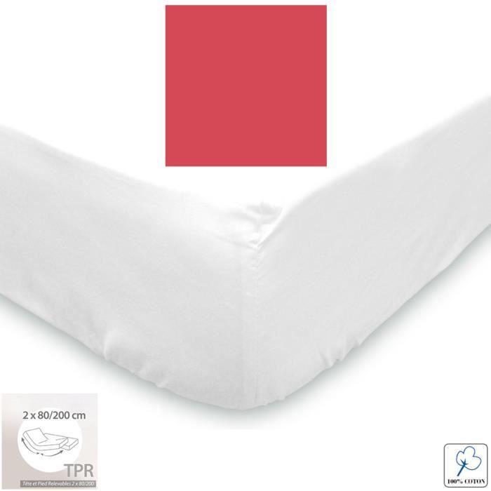 drap housse chausson 100 coton 2x80x200 cerise achat. Black Bedroom Furniture Sets. Home Design Ideas