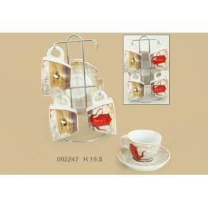 Set de 4 tasses caf et support caf s du monde achat for Maison du monde art de la table