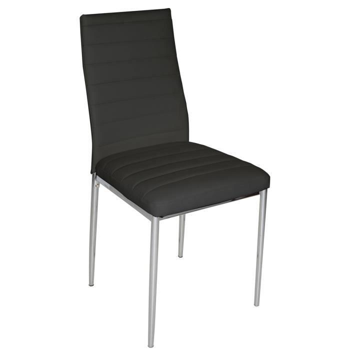 Chaise de salon noir avec pieds chrom 430 x 425 x 930 mm achat vente ch - Chaise de salon noir ...