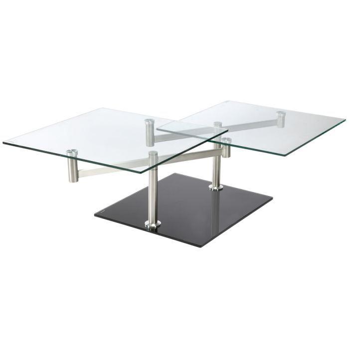 Table basse swithome mosella verre noir achat vente for Table basse en verre noir