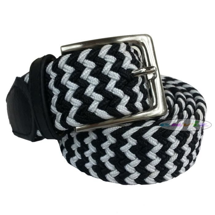 ceinture homme tress e lastique bicolore avec boucle en. Black Bedroom Furniture Sets. Home Design Ideas