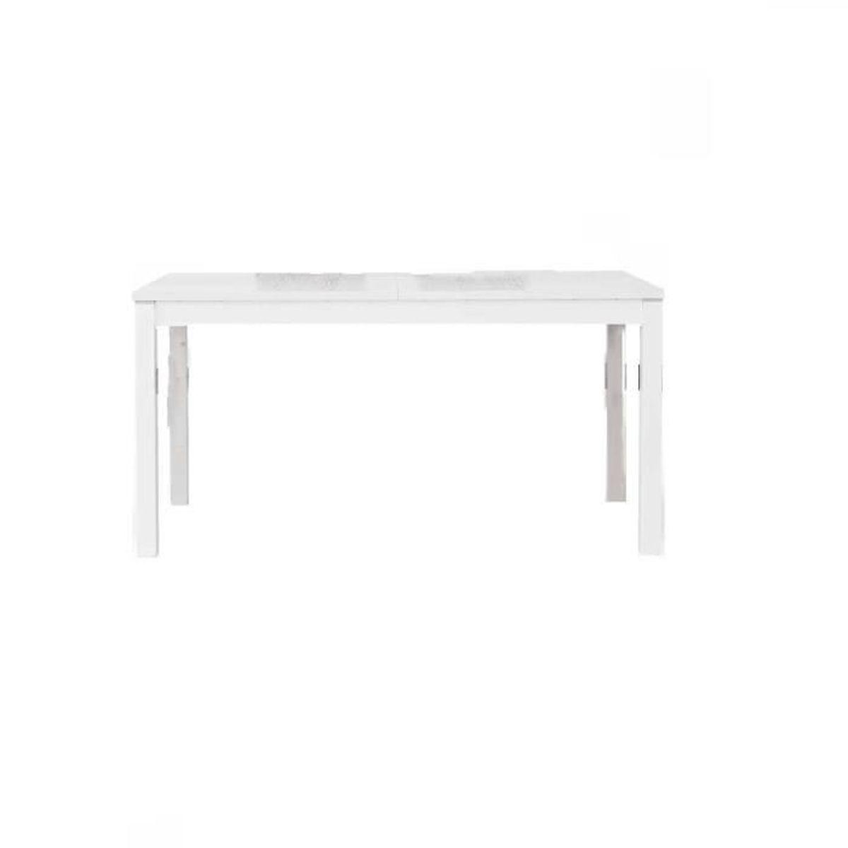 Table extensible blanc pore ouvert comportant 2 rallonges for Table de 5 6 7 8 9