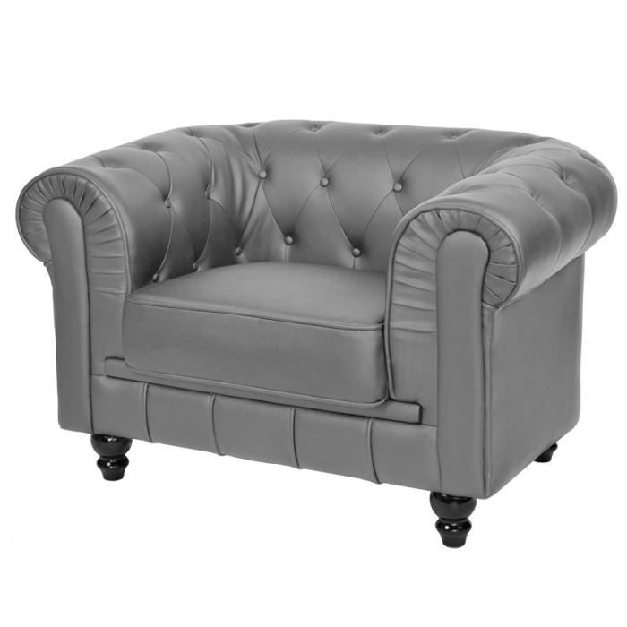 Chesterfield gris fauteuil capitonne achat vente for Canape chesterfield tissu gris