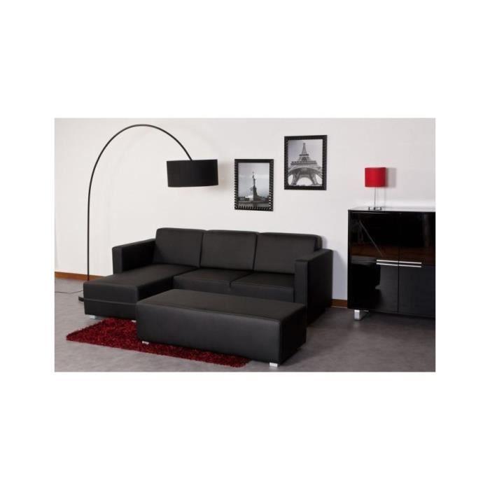canap d 39 angle fixe r versible et banc 4 places en tissu et simili noir achat vente canap. Black Bedroom Furniture Sets. Home Design Ideas