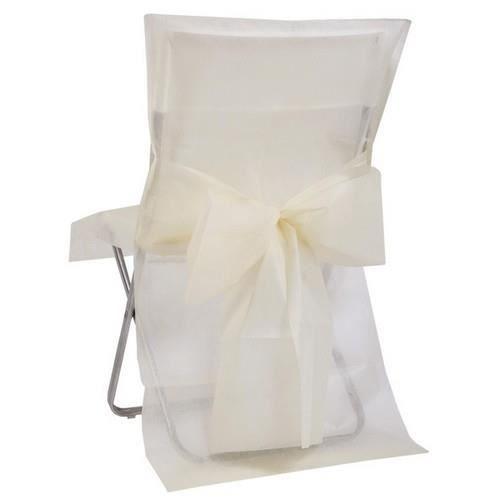 8 housses de chaise ivoire avec noeud achat vente chemin de table jetable 8 housses de. Black Bedroom Furniture Sets. Home Design Ideas