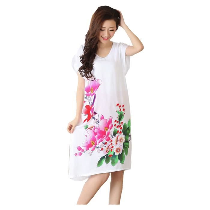 femmes pyjama v tement chemise de nuit robe de nuit manche courte fleur blanc blanc blanc. Black Bedroom Furniture Sets. Home Design Ideas