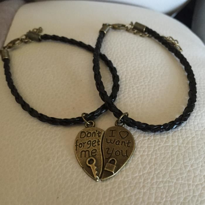 BRACELET , GOURMETTE 2 Bracelets a detacher St Valentin coeur citation