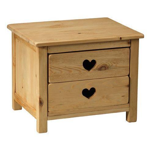 Bout de canap rustique avec coeur 2 tiroirs achat for Meuble bout de canape