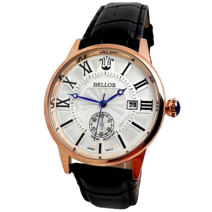 Montre homme classique dateur cuir noir luxe l gant blanc or cuivre id e cadeau achat vente Decoration noir or luxe classe